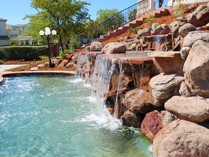 Waterfall over spa
