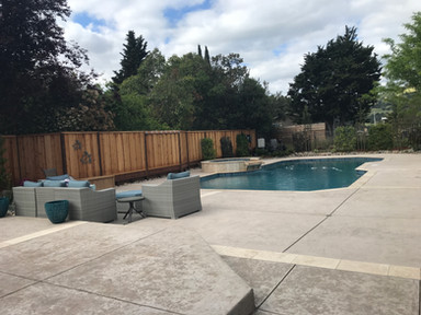 Colored stamped concrete deck and patio