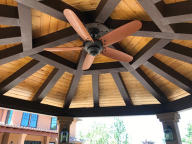 Ceiling fan on gazebo
