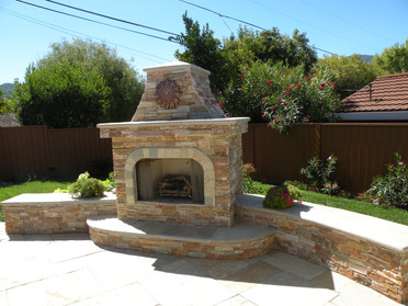 Custom bench and fireplace