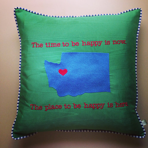 """Time to Be Happy"" State Pillow (Pillow Talk)"