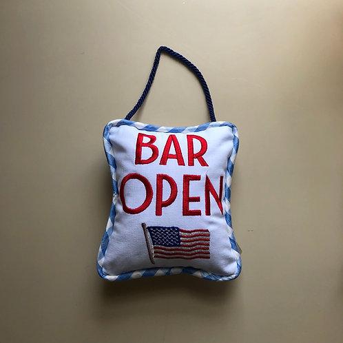 """Bar Open"" Fourth of July Door Pillows"