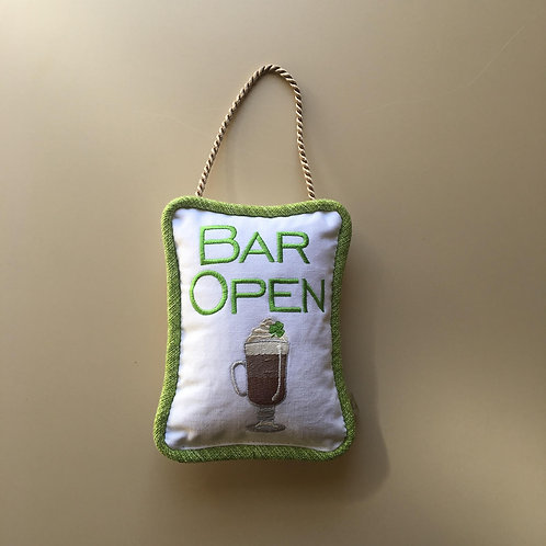 """Bar Open"" St. Patty's Day Door Pillow"