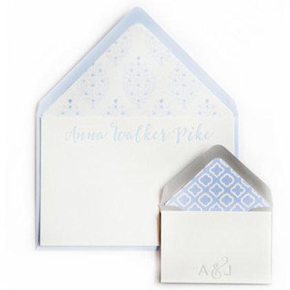 Cerulean Batik Letterpress Note