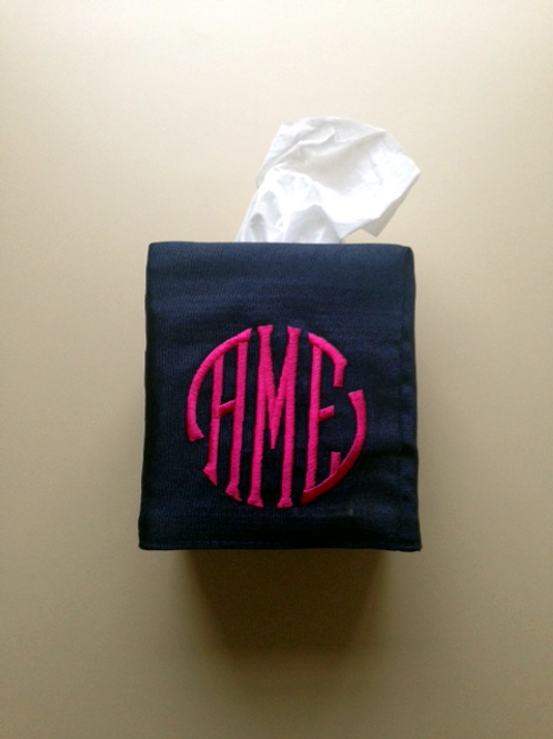 Monogram Tissue Box Cover (Pillow Talk)