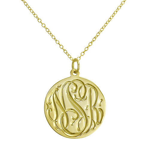 Gold Vermeil Hand Engraved Pendant Necklace