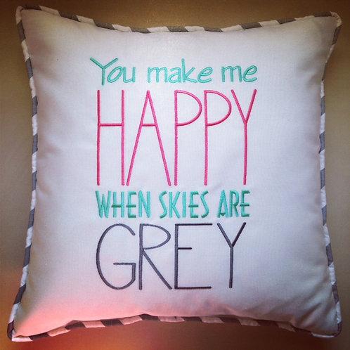 """You Make Me Happy"" Throw Pillow (Pillow Talk)"