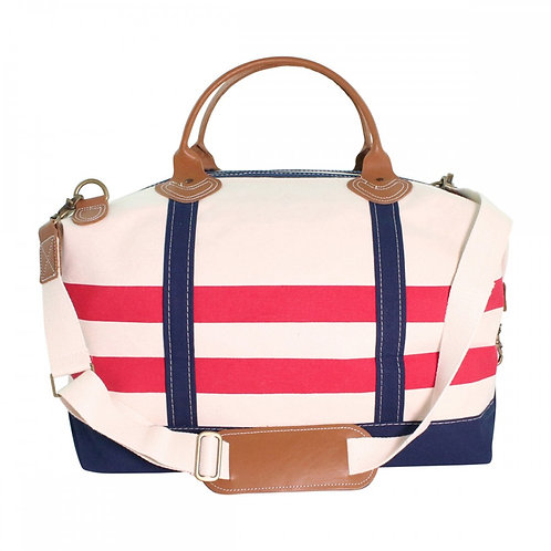 Red and Navy Nautical Stripes Weekender