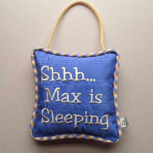 """Shhh...is Sleeping"" Door Pillow (Pillow Talk)"