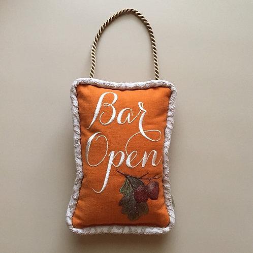 """""""Bar Open"""" Fall Door Pillow"""