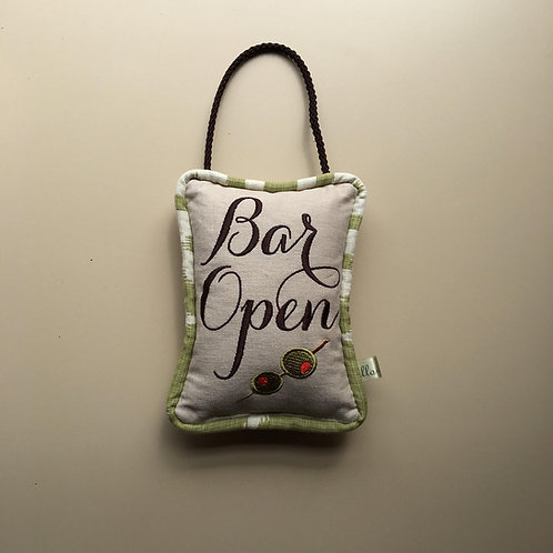 """Bar Open"" Olive Door Pillow"