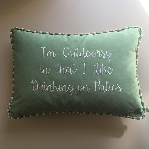 """I'm outdoorsy"" Throw Pillow"