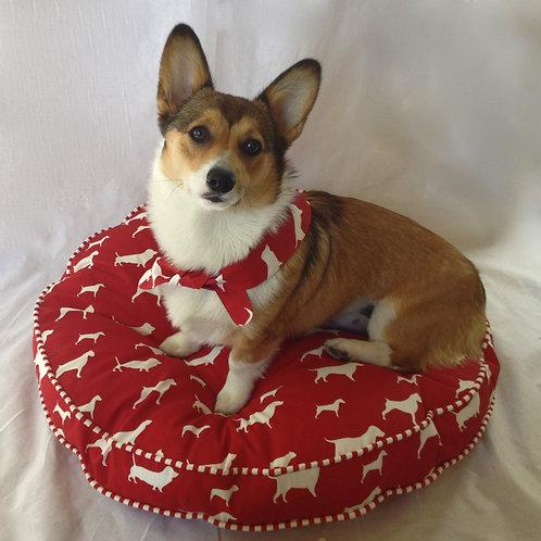 Circular Monogram Dog Bed (Pillow Talk)