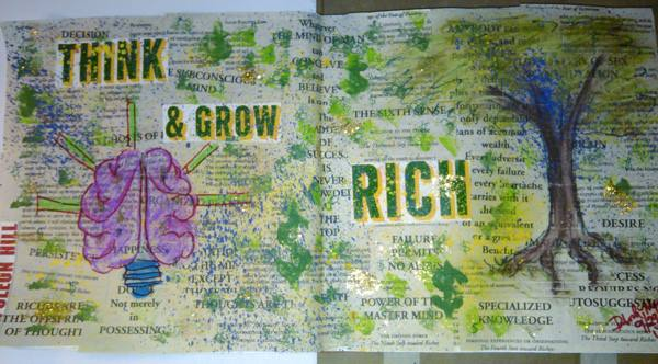 Piece 6 - _Napolean Rules__Material_ gesso, select pages from the book Think and Grow Rich, by Napol