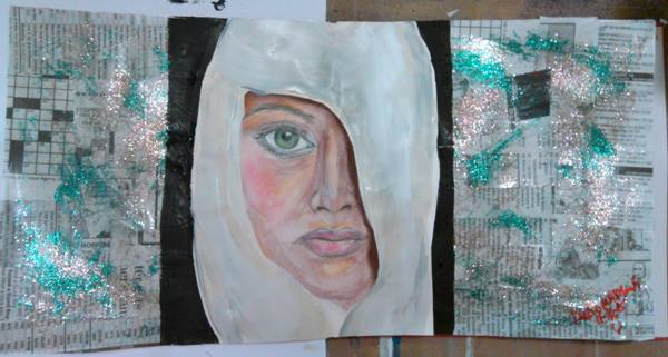Piece #14 - _Modesty__Material_ Gesso, Modge Podge, newspaper, art paper, acrylics, glitter paint, s