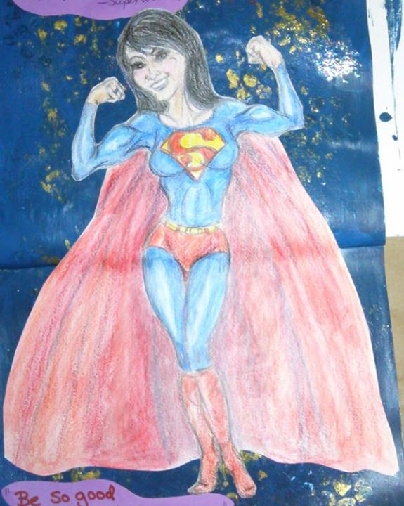 Piece# 9 - _Superwoman_  - Full drawing close-up