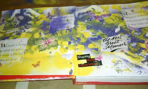 First Piece - _Possibilities__Materials_ gesso, acryclic paint spray, homemade stencils, scrapbook s