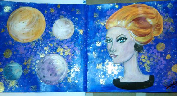 Piece 7 - _Ms Universe__Material_ gesso, acrylic paint, metalic acrylic paint, glitter paint, water