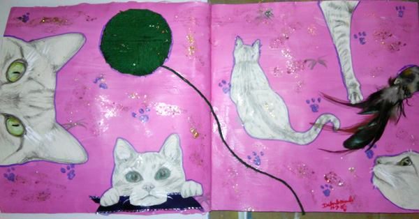 Piece #13 - _Feline Frenzy__Material_ gesso, acrylic paint, glitter paint, art paper, colored pencil