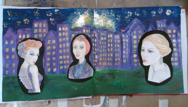 Piece #15 - _City Girls__Materials_ gesso, acrylic paint, glitter, Modge Podge, paper bag, colored p
