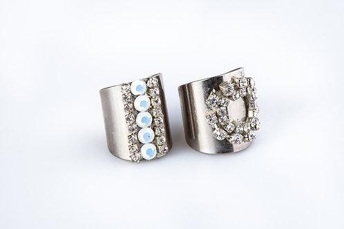 טבעת כסף עם אבני חן