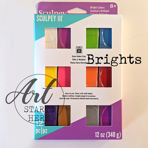 Sculpey III Multipack - 12 pc -Brights