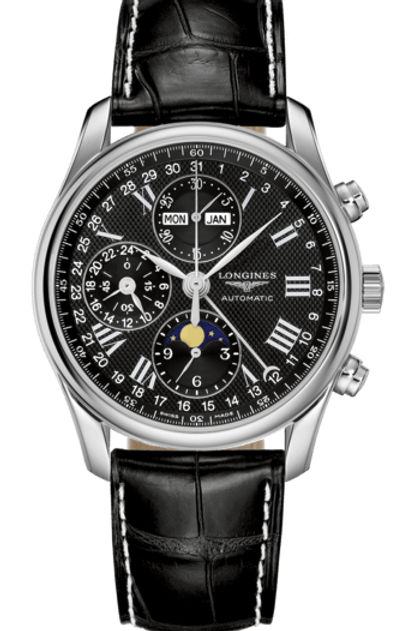 Longines Master Collection L2.673.4.51.7 Phase de Lune Moon Phase Chronographe Noir Black Dial Cadran WatchaddictGVA