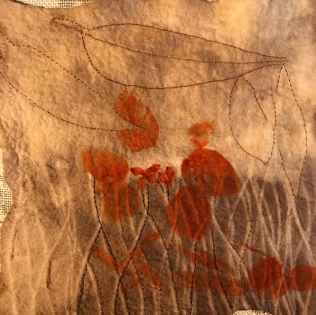 Eco print & stitch on wool felt, detail