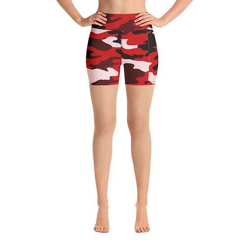 red camo biker shorts
