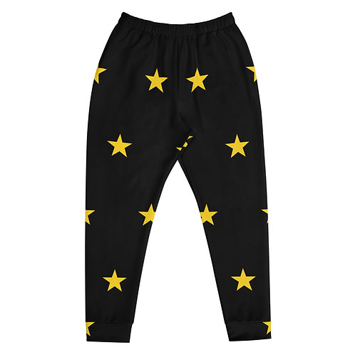 Black & Gold All Over Star Joggers