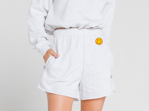 MN Smiley Embroidered Sweat Shorts