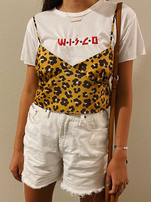 Crop Wisco Kiss Embroidered Tee