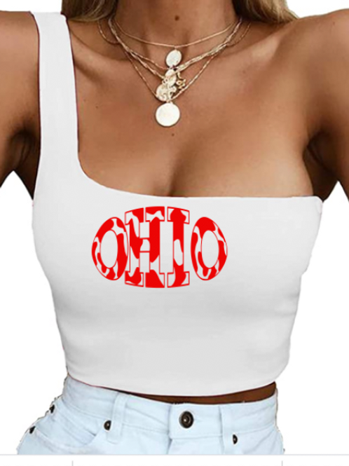 Ohio State Cow One Shoulder Tank