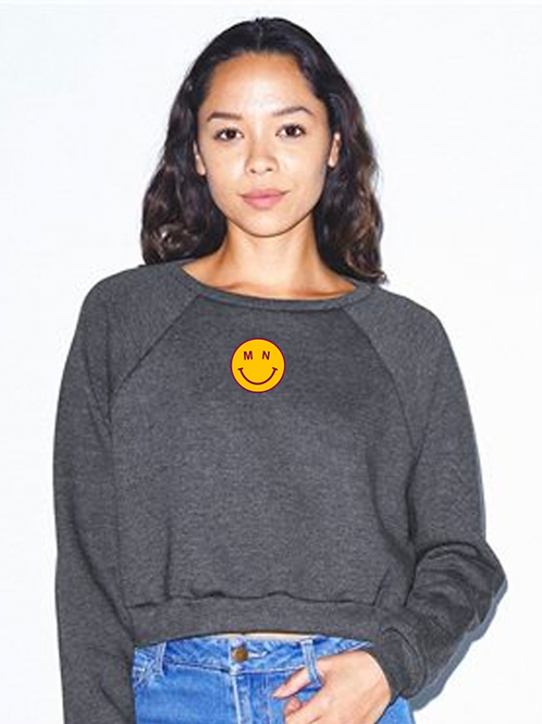 MN Smiley Embroidered Cropped Crew