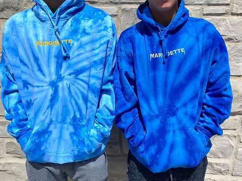 Tie dye embroidered Marquette hoodie