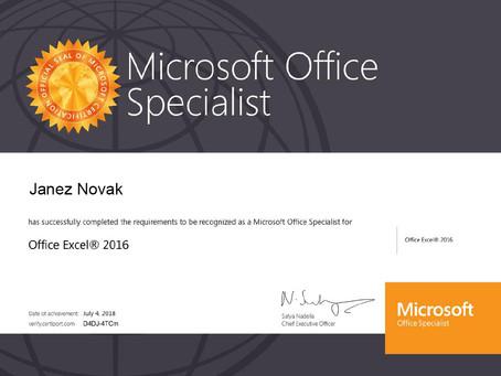NOVI TERMINI - Microsoft Office Specialist (MOS)