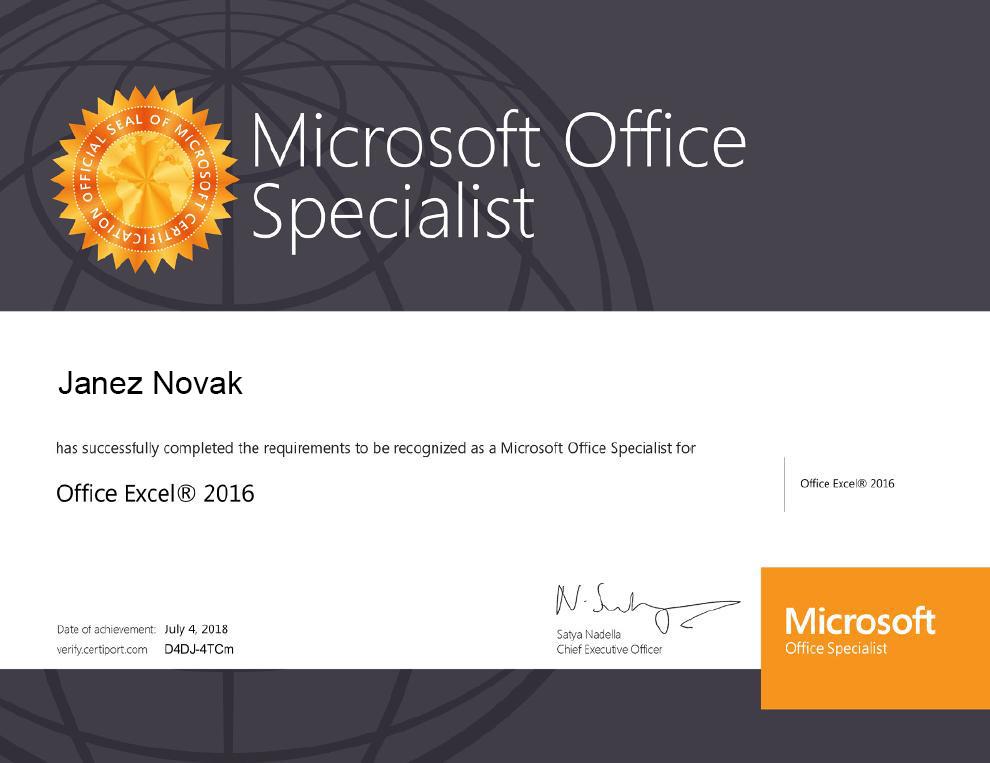 Certifikat Microsoft Office Specialist