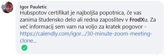 Mnenje g. Igorja Pauletiča FrodX o HubSpot certifikatih