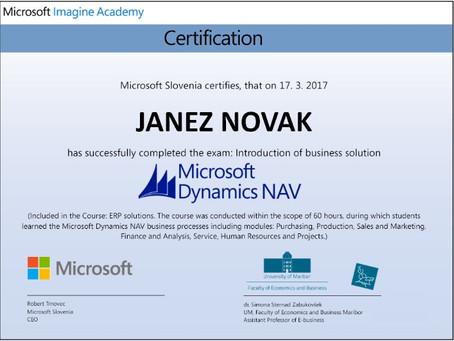 """Priprave za izpit """"Poznavanje rešitve Microsoft Dynamics NAV"""""""