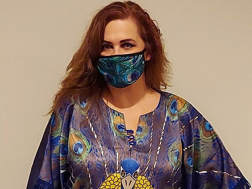 Blue Peacock Face Mask