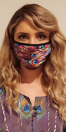 Pink Peacock Face Mask