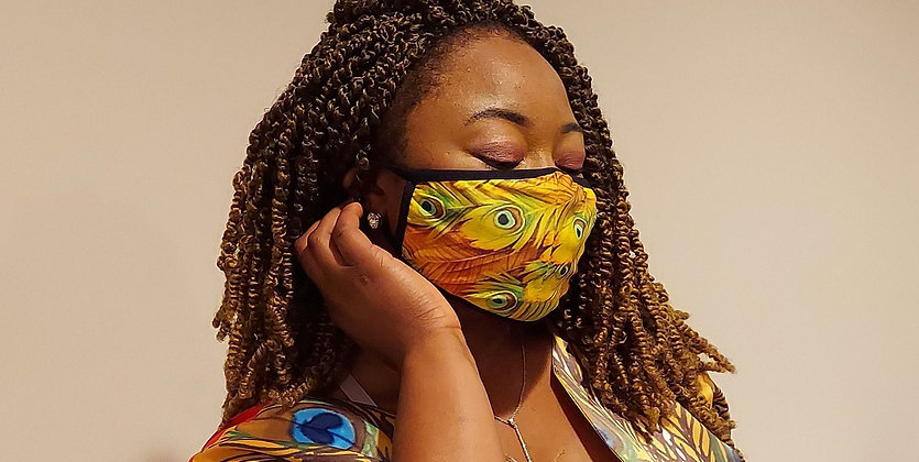 Yellow Peacock Face Mask