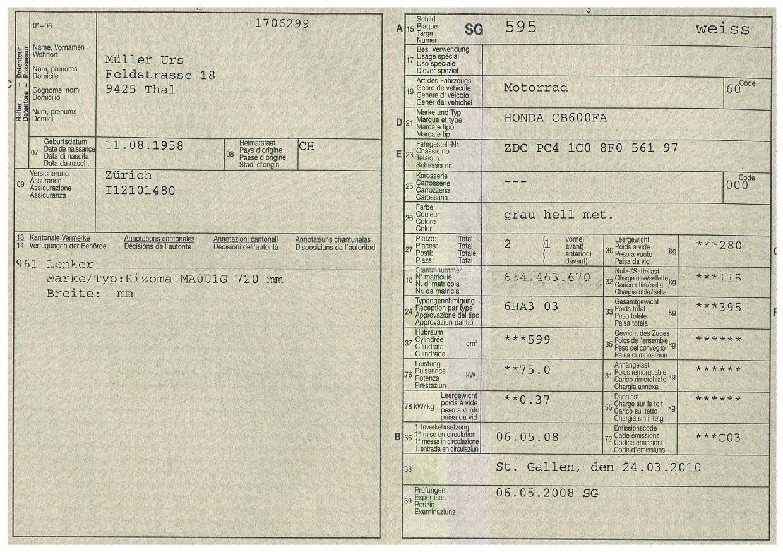 Fahrzeugausweis
