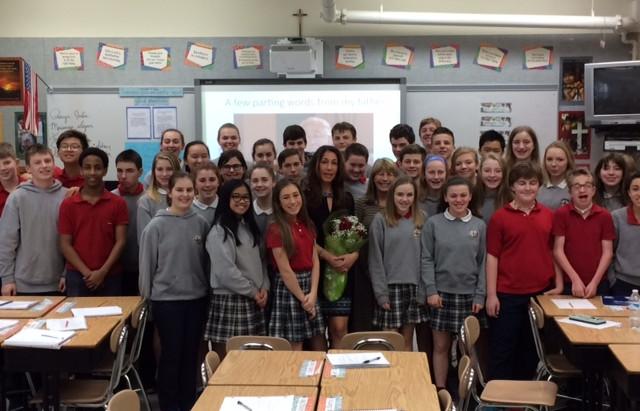 Holocaust speaker talks with 8th Graders