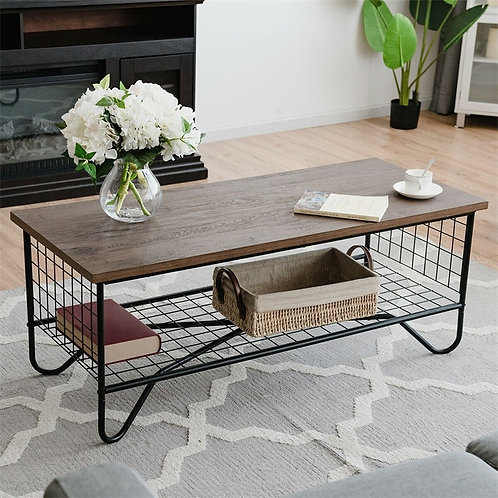 Modern Oak & Metal Frame Coffee Table