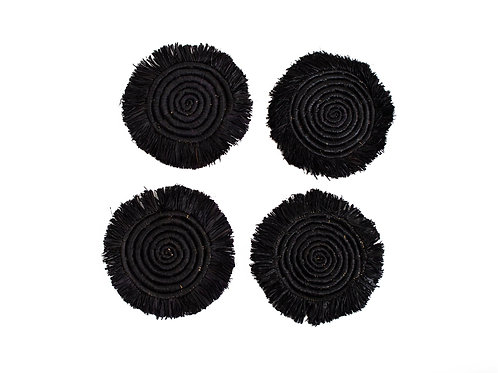 Black Fringed Raffia Coasters (Set of 4)