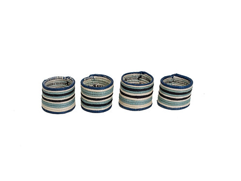 Striped Silver Blue Napkin Rings (Set of 4)