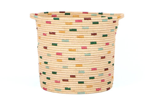 Vivid Dashed Raffia Floor Storage Basket