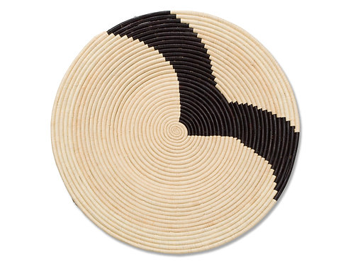 """Striped Black + Natural Raffia Woven Wall Art Plate 28"""" Extra Large"""