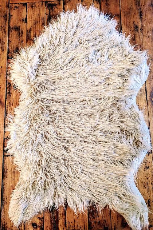 Ultra-Soft Faux Sheepskin Throw/Rug - Oatmeal/Beige